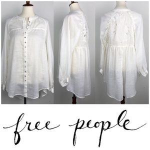 Free People open crochet back ivory tunic blouse